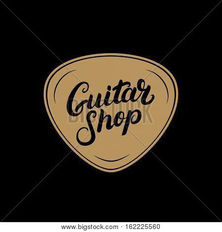 Golden Guitar shop hand written lettering logo, emblem, label, badge with plectrum. Vintage style. Isolated on black background. Vector illustration.