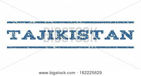 Tajikistan watermark stamp. Text tag between horizontal parallel lines with grunge design style. Rubber seal stamp with dust texture. Vector cobalt color ink imprint on a white background.