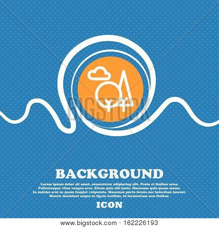 Forest Icon Sign. Blue And White Abstract Background Flecked With Space For Text And Your Design. Ve