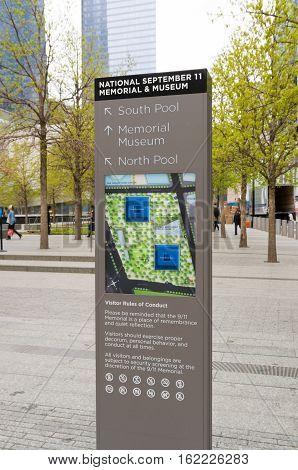 information pole at the september 11 memorial on ground zero