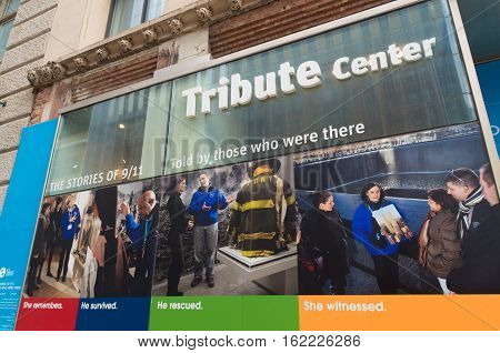 NEW YORK - APRIL 27 2016: Lifezize poster outside the 9/11 national Memorial Museum in New York City