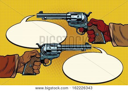 duel in the wild West, hands with revolvers, pop art retro vector illustration. Steampunk Western style