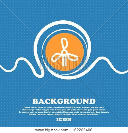 Wind Turbine Icon Sign. Blue And White Abstract Background Flecked With Space For Text And Your Desi