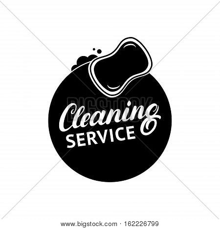Hand written lettering Cleaning Service logo, label, badge, emblem. Isolated on white background. Vector illustration.