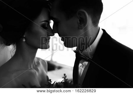 Bride And Fiance Touch Each Other Noses