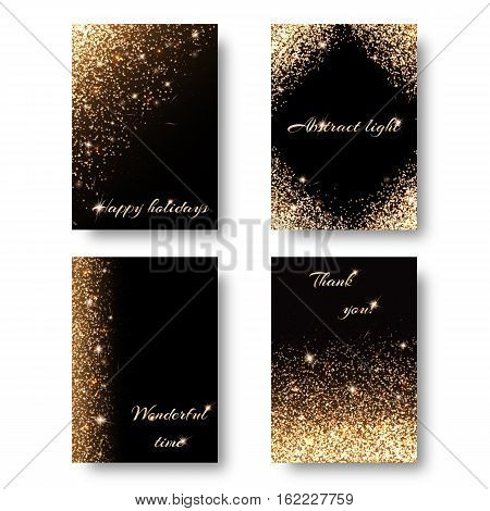Set of backgrounds with holiday lights for decoration greeting cards. Christmas ornament with shiny confetti