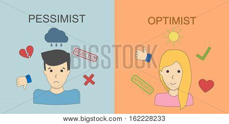 Optimist and pessimist concept. Two points of view. Happiness and sadness. Upset man and joyful woman.