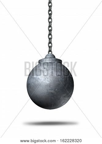 Wrecking ball object on a white background as a metaphor for renewal and demolishing or demolition and destruction icon as a 3D illustration of a business symbol.