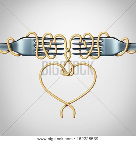 Romantic date concept and couple in love relationship symbol as two forks with spaghetti shaped as a valentine heart as a 3D illustration.