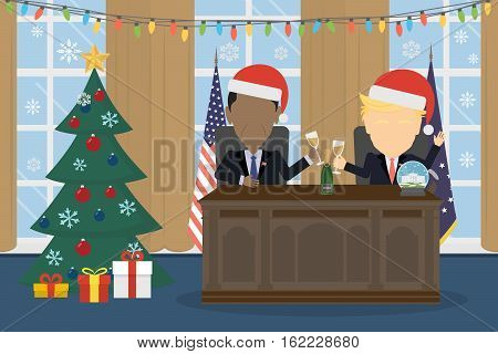 Russia December 19 2016 Donald Trump with Barack Obama sitting in White house in santa hat.