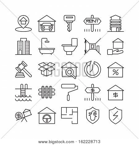 Real estate icons set. Bedroom and garage, rent and sale.