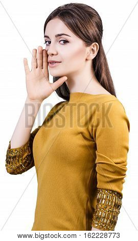 Young teenage woman whispering isolated on white background