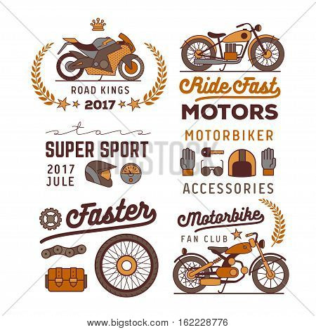 motorbike logos set, isolated vector illustration icons