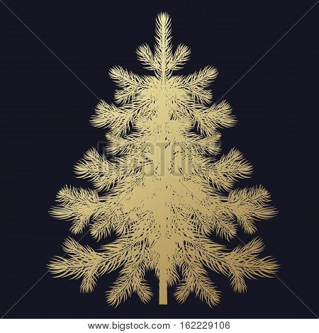 Christmas tree. Gold spruce isolated on black background. Evergreen forest plants. Vector illustration of a fir or pine. Template for design holiday gifts greeting cards signboard signs posters