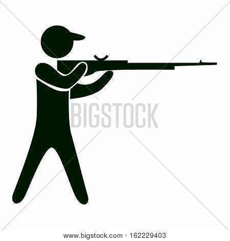 Isolated shooting icon. Black figure of an athlet on white background. Person with gun.