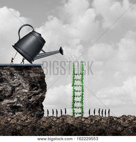 Growth and success strategy as a team of business people using a giant watering can to hydrate and nurture a ladder tree to help reach opportunity as a solution metaphor with 3D illustration elements.
