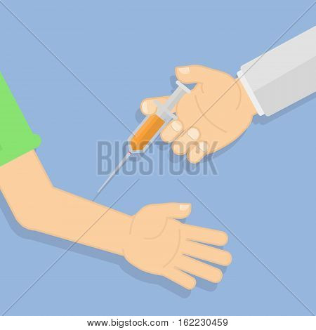 Doctor making vaccination. Hand with syringe. Concept of healthcare, medical treatment.