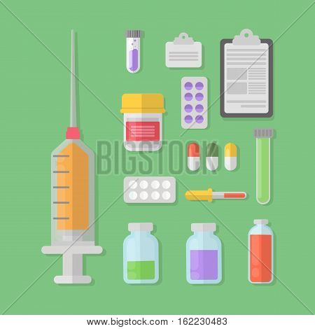 Vaccination concept illustration set. Syringe and tablets, test tubes and prescriptions.