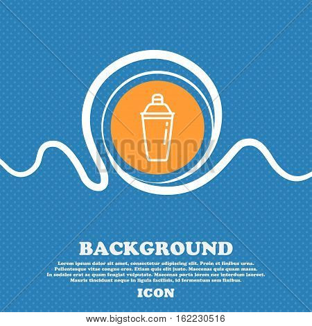 Cocktail Shaker Icon Sign. Blue And White Abstract Background Flecked With Space For Text And Your D
