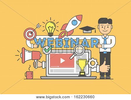 Online education concept with icons. Funny cartoon businessman with webinar title. Idea of business webinar, distance education.