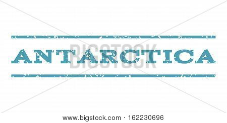 Antarctica watermark stamp. Text tag between horizontal parallel lines with grunge design style. Rubber seal stamp with unclean texture. Vector cyan color ink imprint on a white background.