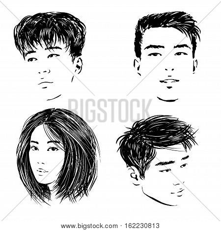 Sketch of the isolated Asian faces of the young people - the Chinese Thai and Korean guys and Japanese girl