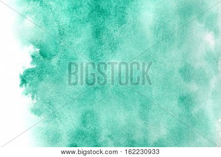 Abstract green watercolor background with isolated edge