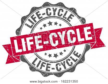 life-cycle. stamp. sign. seal. round. retro. ribbon