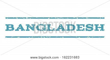Bangladesh watermark stamp. Text tag between horizontal parallel lines with grunge design style. Rubber seal stamp with dust texture. Vector cyan color ink imprint on a white background.