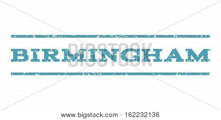 Birmingham watermark stamp. Text tag between horizontal parallel lines with grunge design style. Rubber seal stamp with dust texture. Vector cyan color ink imprint on a white background.