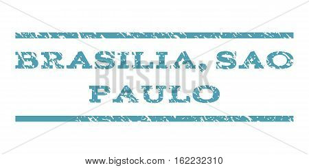 Brasilia, Sao Paulo watermark stamp. Text caption between horizontal parallel lines with grunge design style. Rubber seal stamp with scratched texture.