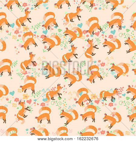 Very high quality original trendy vector seamless pattern with a cute fox