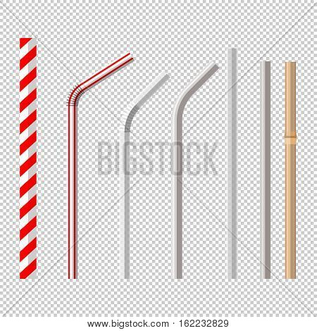 top view flat lay vector set of different drinking straws from retro classic disposable striped plastic to the modern reusable modern glass steel and bamboo