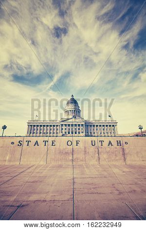 Vintage Stylized Utah State Capitol Building In Salt Lake City