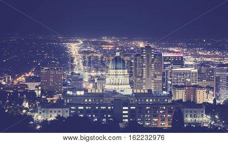 Vintage Toned Night Picture Of Salt Lake City Downtown, Utah, Usa