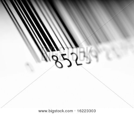 Bar code with space for copy text