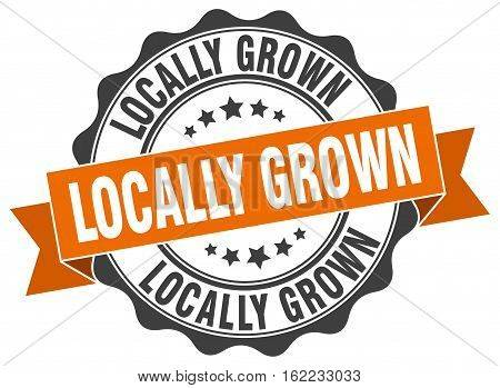 locally grown. stamp. sign. seal. round. retro. ribbon
