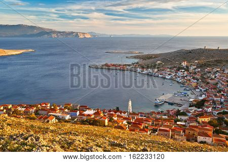 Village on Halki island in Dodecanese archipelago, Greece.