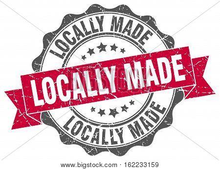 locally made. stamp. sign. seal. round. retro. ribbon