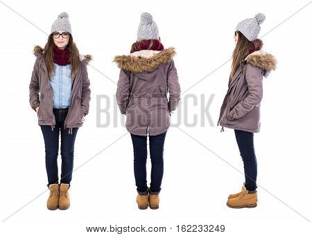 Front, Back And Side View Of Young Woman In Winter Clothes Isolated On White