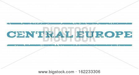 Central Europe watermark stamp. Text tag between horizontal parallel lines with grunge design style. Rubber seal stamp with unclean texture. Vector cyan color ink imprint on a white background.