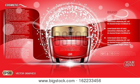 Moisturizing Cream cosmetic ads template. Hydrating face lotion. Mockup 3D Realistic illustration. Sparkling background red colors