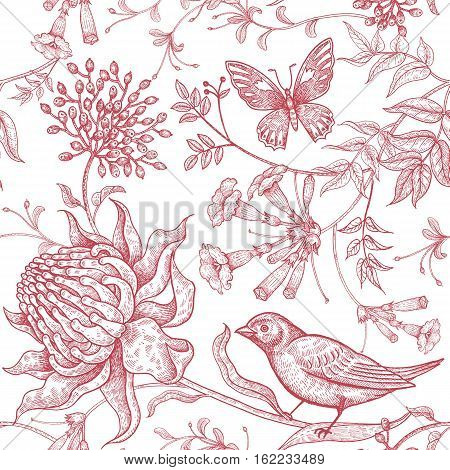 Exotic flowers, butterflies and birds. Seamless vector floral pattern in vintage style luxury fabrics. Illustration for textile, paper, clothing, case phone, cover. Red and white background.