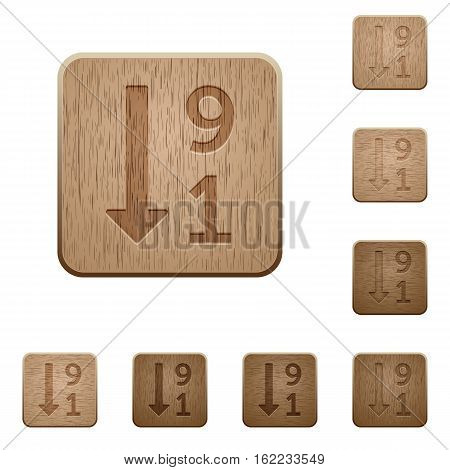 Descending numbered list icons on carved wooden button styles