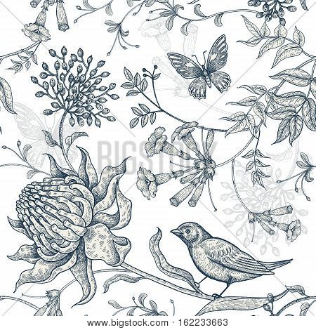Exotic flowers, butterflies and birds. Seamless vector floral pattern in vintage style luxury fabrics. Illustration for textile, paper, clothing, case phone, cover. Black and white background.