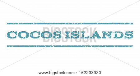 Cocos Islands watermark stamp. Text caption between horizontal parallel lines with grunge design style. Rubber seal stamp with dust texture. Vector cyan color ink imprint on a white background.