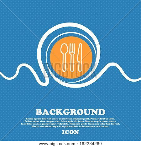 Knife, Fork And Spoon Icon Sign. Blue And White Abstract Background Flecked With Space For Text And