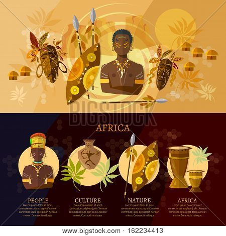 Africa infographic culture and traditions of Africa people African tribes ethnic masks drums. Travel to Africa concept vector