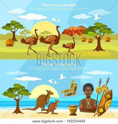 Australia travel banner Australia people and animals. Australian aborigines kangaroo ostrich vector illustration