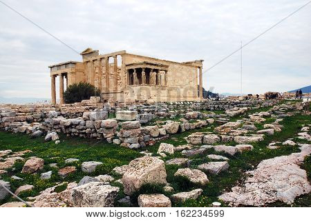The Erechtheum temple on Acropolis of Athens